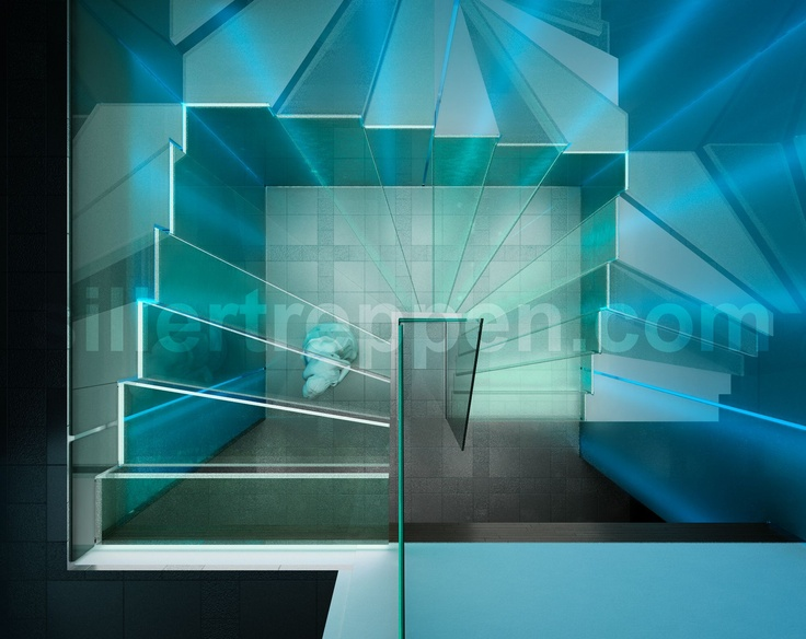 With led view from the top http www stairs siller glass stairs