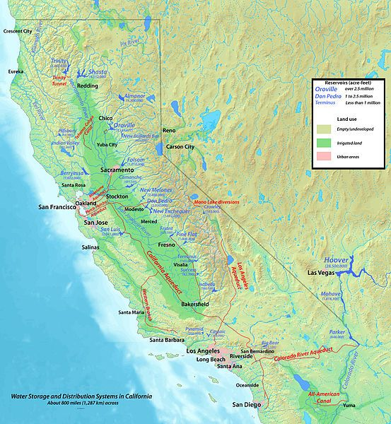 Map of major aqueducts in California Maps Pinterest
