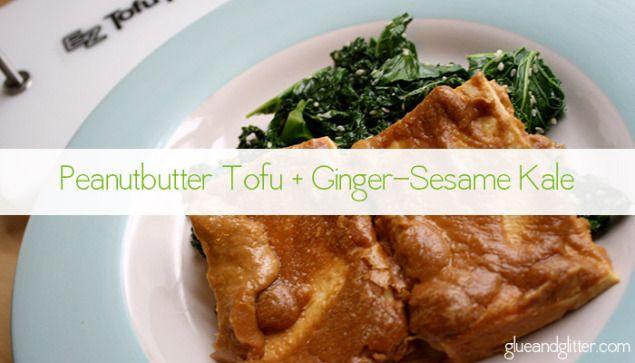 Tofu Recipe: Peanut Baked Tofu with Ginger-Sesame Kale