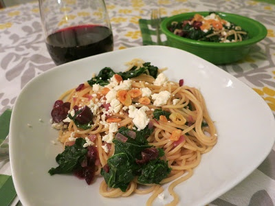 Pasta with Toasted Garlic, Dried Cranberries, Kale, Kalamata Olives ...