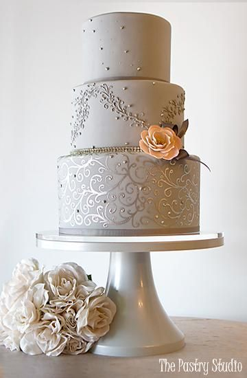 Harper - Classic Gray Wedding Cake by The Pastry Studio Daytona Beach FL