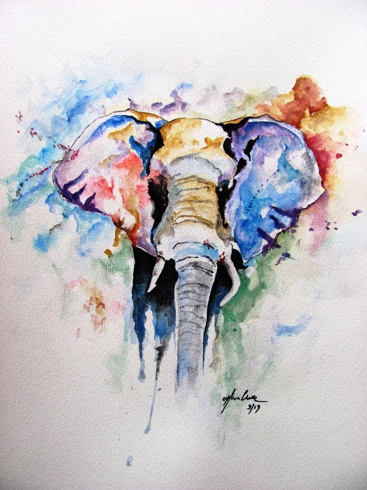 Elephant watercolor tattoo