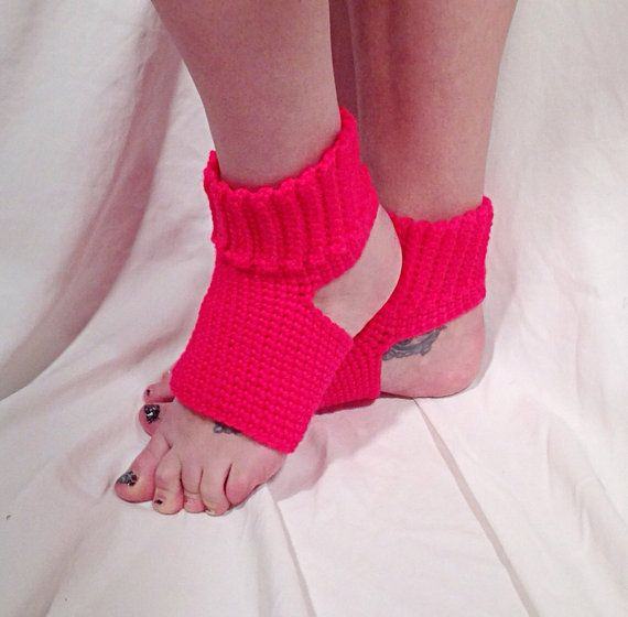 Crochet Yoga Socks : Neon Pink Crochet Yoga Socks by DapperCatDesigns on Etsy, $20.00