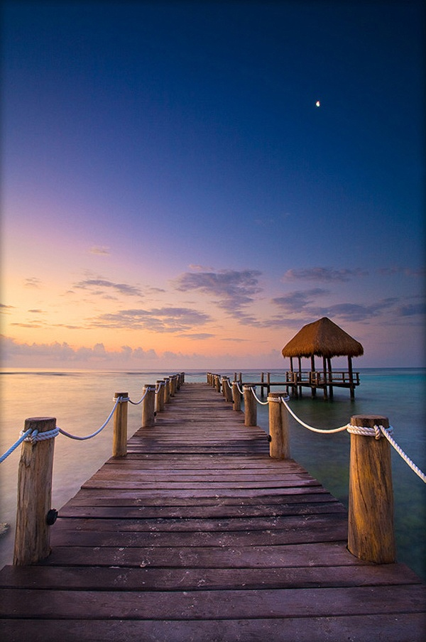 A peaceful sunrise on a pier in beautiful Mayan Riviera, #Mexico