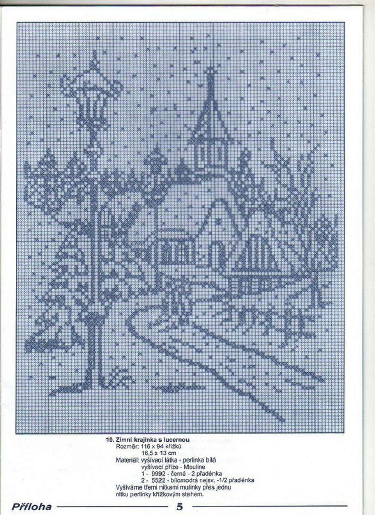 Вышивка крестом монохром пейзаж схемы