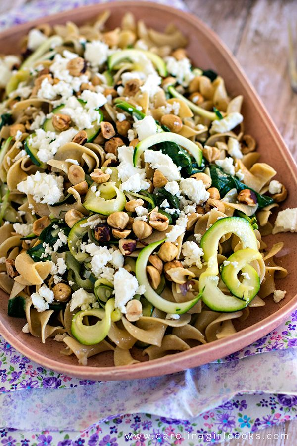 zucchini pasta with hazelnuts goat cheese and lemon sherry thyme sauce