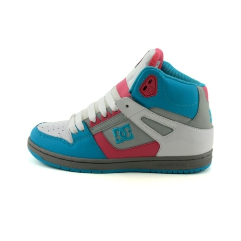 Shop for Womens DC Rebound Hi Skate Shoe in WhitePinkTurquoise at