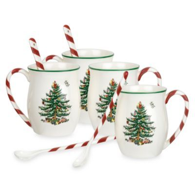 Spode 174 Christmas Tree Candy Cane Handle Mugs Set Of 4