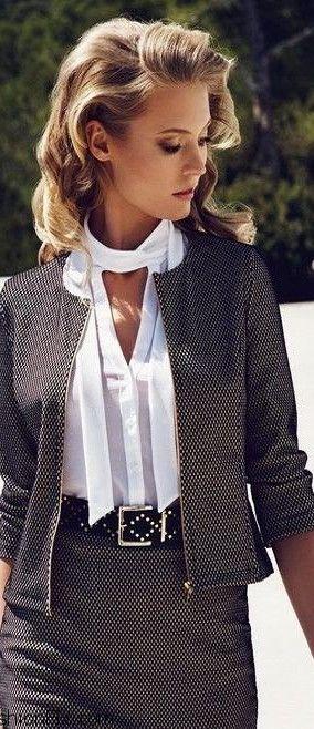Charlotte Di Calypso for Wolford = Spring 2014 campaign | LBV ♥✤ | KeepSmiling | BeStayElegant via @bellezadevenus. #suits #officewear