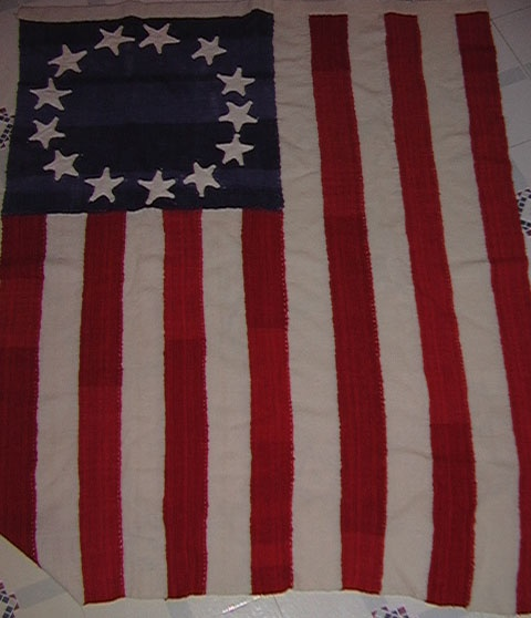 Home spun, hand woven/dyed, hand stitched flag~DANG!  Someone was REALLY committed!!!