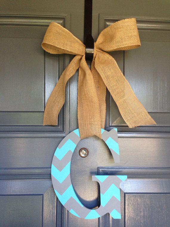 Burlap letter b door hanger decor dorm birthday on etsy 24 00