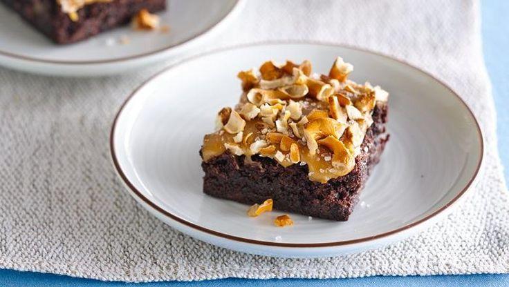 Gluten-free fudgy brownies topped with crunchy gluten-free pretzels ...