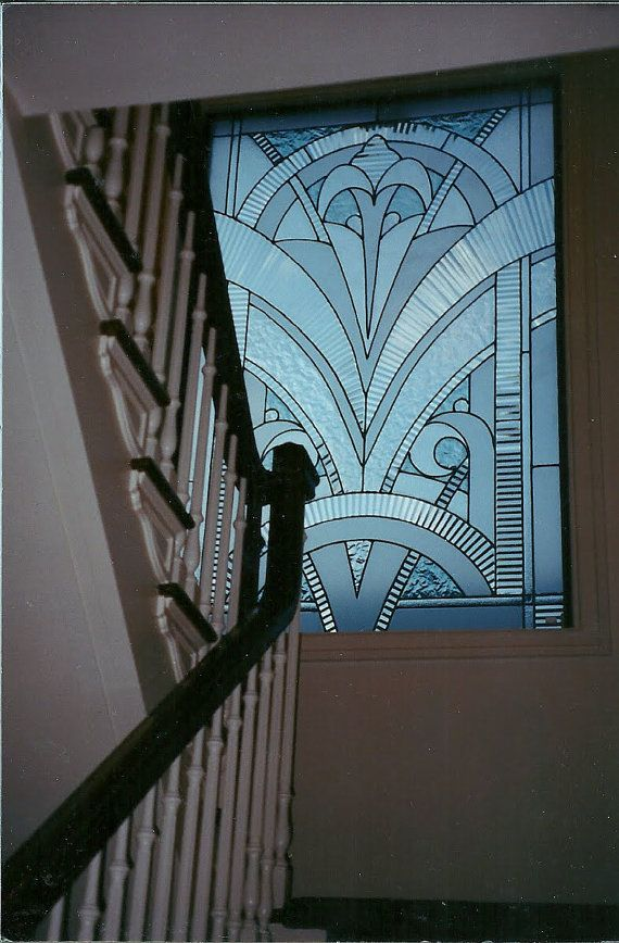 Art deco stained glass and glassware pinterest for Art deco glass windows