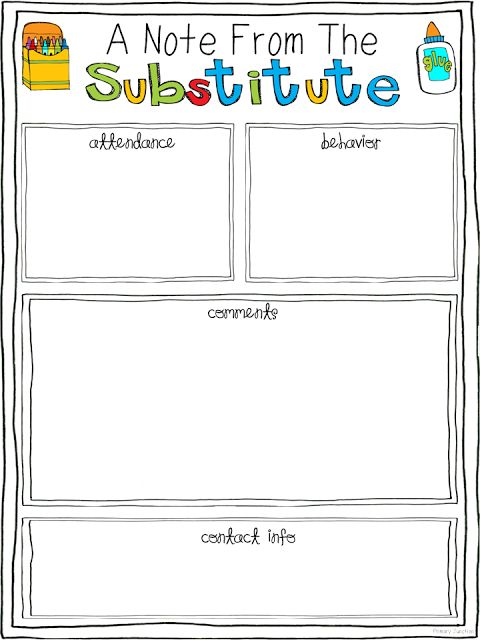 ejacobs6292 - Substitute Folder Ideas