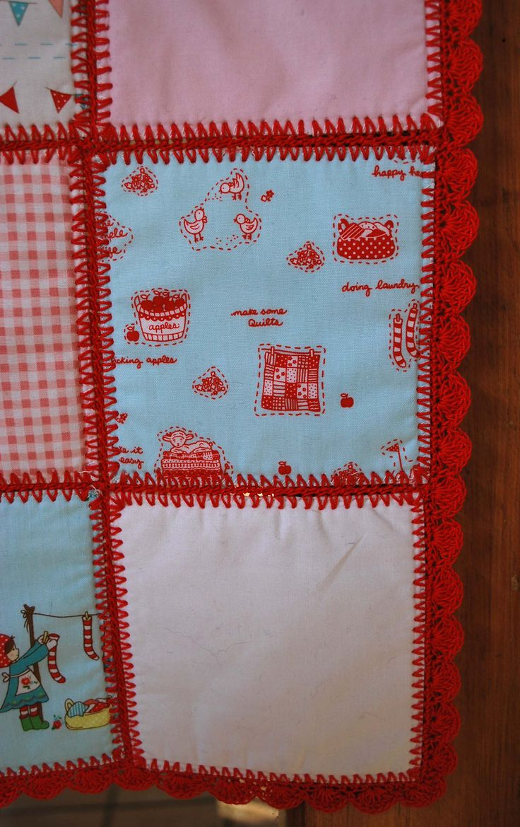 Crochet Quilt : Fabric & crochet quilt with tutorial crochet Pinterest