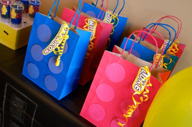 Party favor bags for a LEGO party