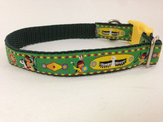 happy indians dog collar   green and yellow dog by WoofCoutureInt   14    Happy Indians