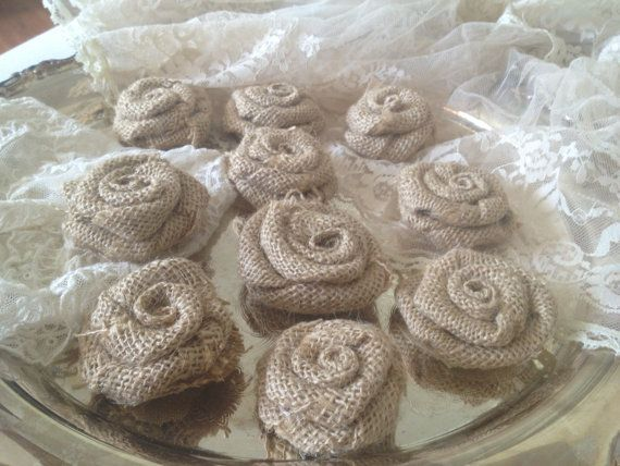 Rustic Wedding Decor, 25 Burlap Wedding Flowers. Burlap Rosettes on ...