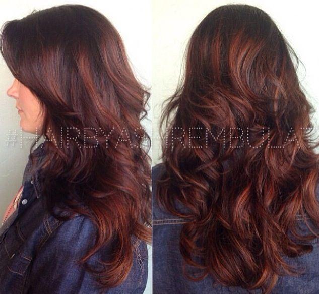 Copper Red Balayage | Dark Brown Hairs