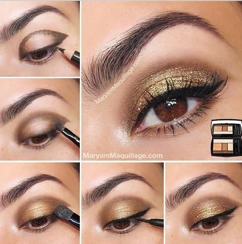 brown eyes with gold eyeshadow all things makeup pinterest