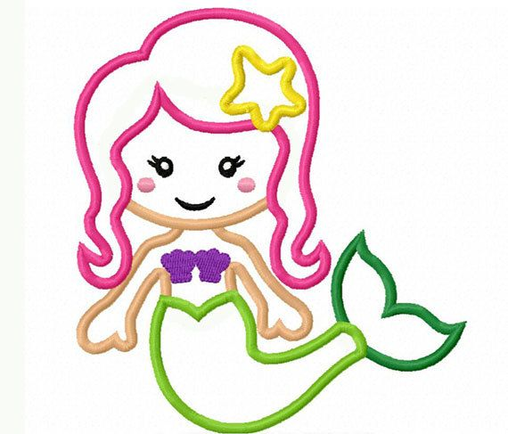 Mermaid applique machine embroidery design no