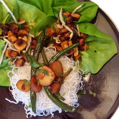 Tofu Lettuce Cups, Hot & Spicy Green Beans with Water Chestnuts.