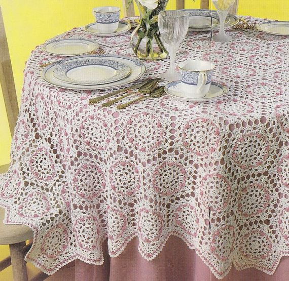Rosebud Tablecloth Crochet Pattern - 66 Inches Across Round Hexagon