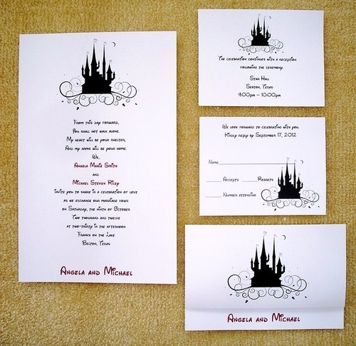 100 Personalized Custom Cinderella Castle Disney Wedding Invitations