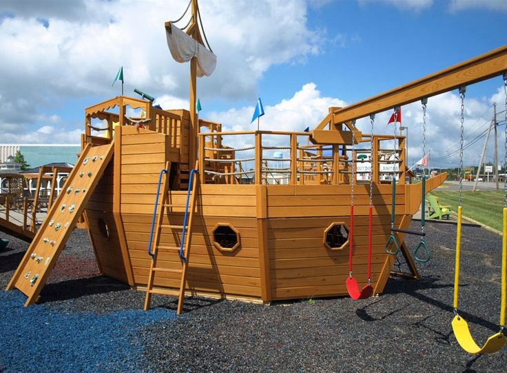 Playhouse swing set plans 911 pirate ship playhouse - Pirate ship wooden playground ...