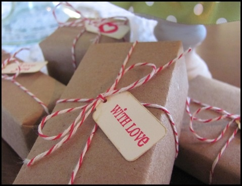 Brown Paper and Red and White Bakers Twine