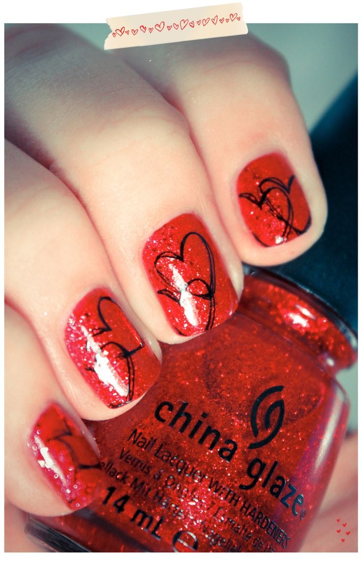 valentine day nail tips