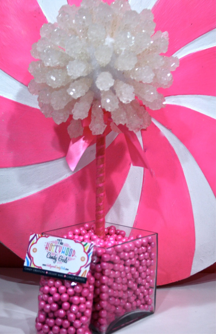 Pink baby girl shower rock candy centerpiece topiary tree