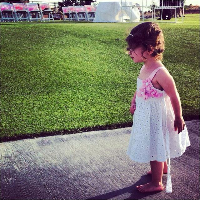 Getting ready for her Aunt Lauren's wedding.