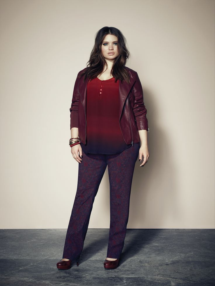 Addition Elle plus size faux leather jacket with dip-dye tunic and jacquard slim leg pant.