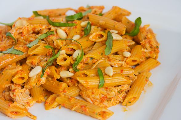 Roasted Red Pepper Pesto Pasta! | food's my life | Pinterest