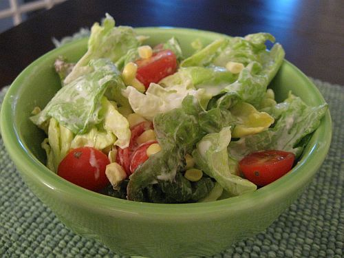 "Tomato, Corn, and Butter Lettuce Salad with ""Buttermilk Chive Dressing ..."
