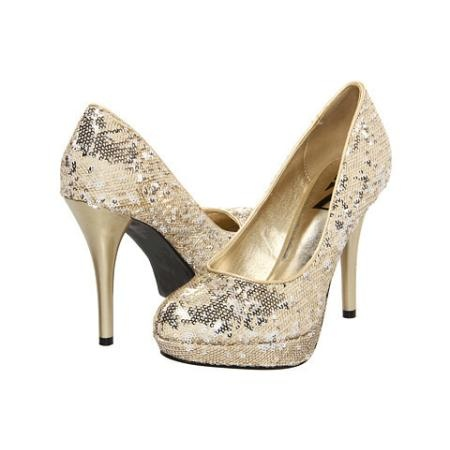 Type Z Tasia High Heels - Gold Sequin shoes