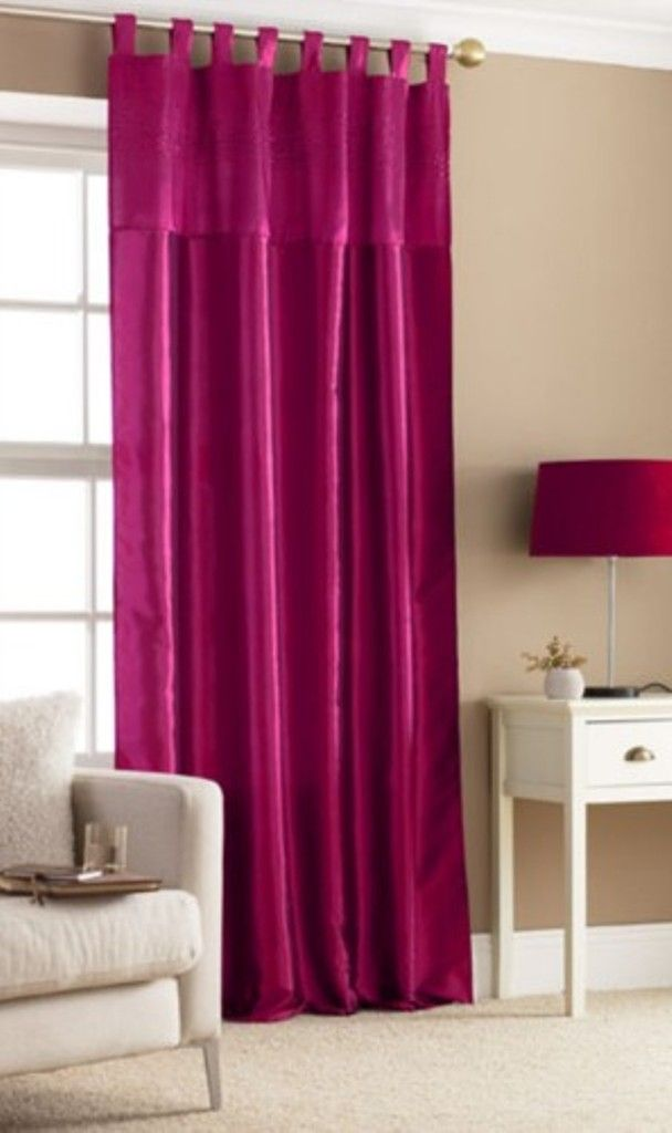 Fuhsia Pink Tab Top Embroidered Curtain. | DRESS UP YOUR WINDOW | Pin ...