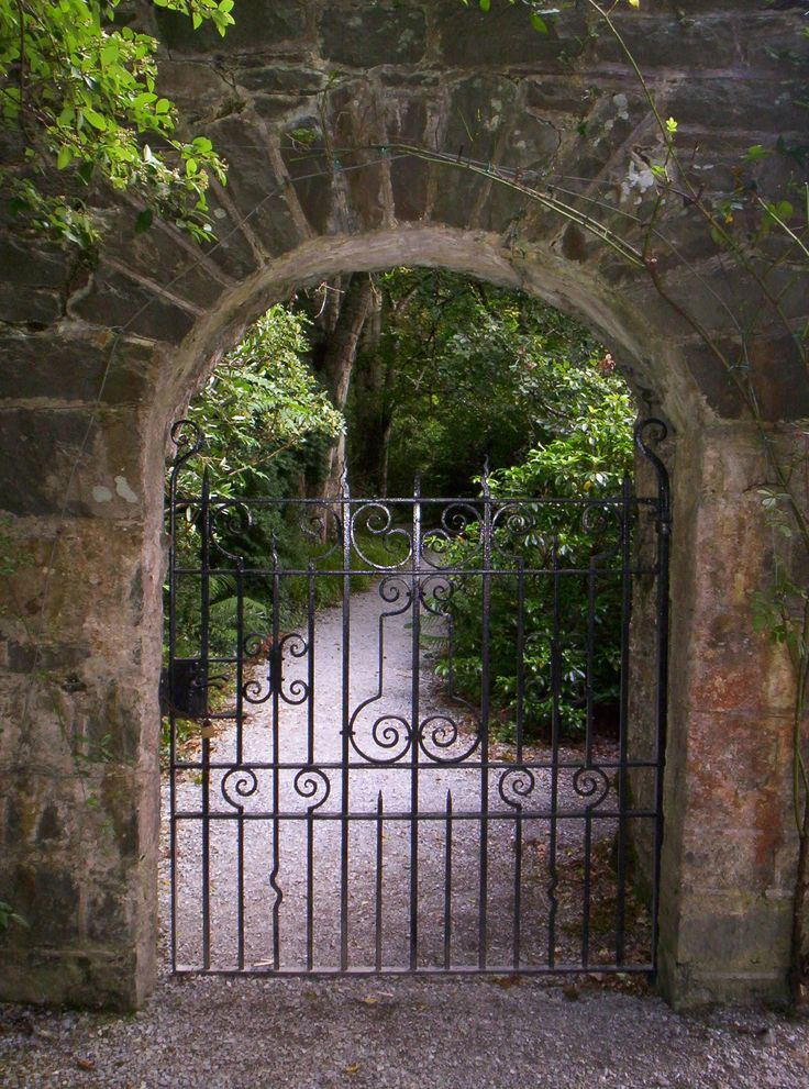 Great stone arch and wrought iron gate design pinterest
