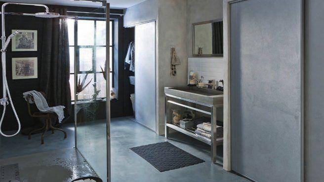 Salle de bains b ton leroy merlin style industriel - Beton cire salle de bain leroy merlin ...