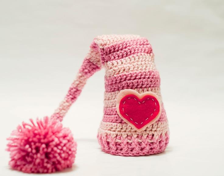 Crocheting For Valentines Day : MY CROCHET - Valentines Day Crochet Elf Beanie. $22.00, via Etsy.