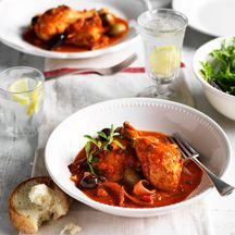 Braised chicken with capers and olives | Weight Watchers | Pinterest