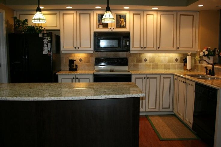 white cabinets w brown glaze