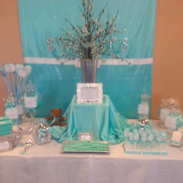 sweet table for tiffany inspired baby shower