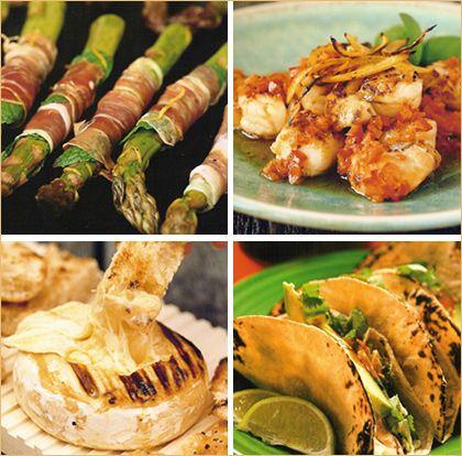 front: • Asparagus & Mint Prosciutto Wraps • Seared Scallops ...