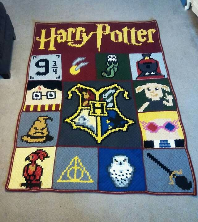 harry potter hogwarts house crochet blanket my crafts. Black Bedroom Furniture Sets. Home Design Ideas
