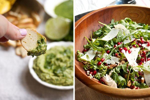 Herby Avocado Hummus and Arugula & Radicchio Salad with Pomegranate ...