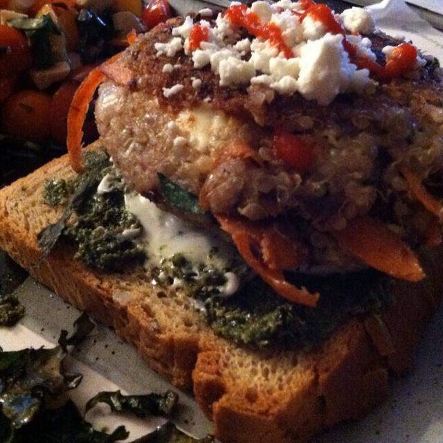Quinoa and feta burger! | Food | Pinterest
