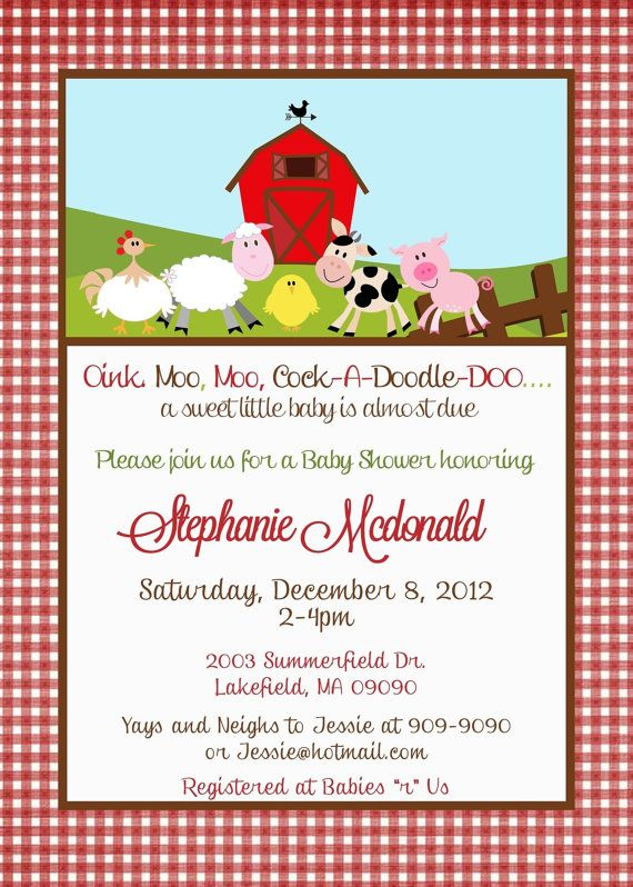 barnyard farm baby shower invitation by asapinvites on etsy