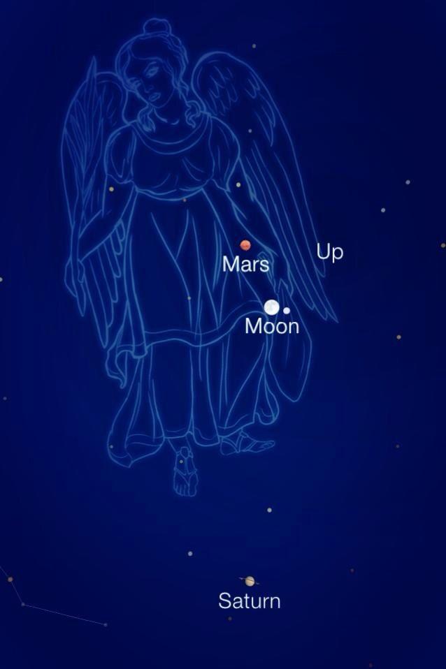 Moon and Mars in Virgo. | Space | Pinterest